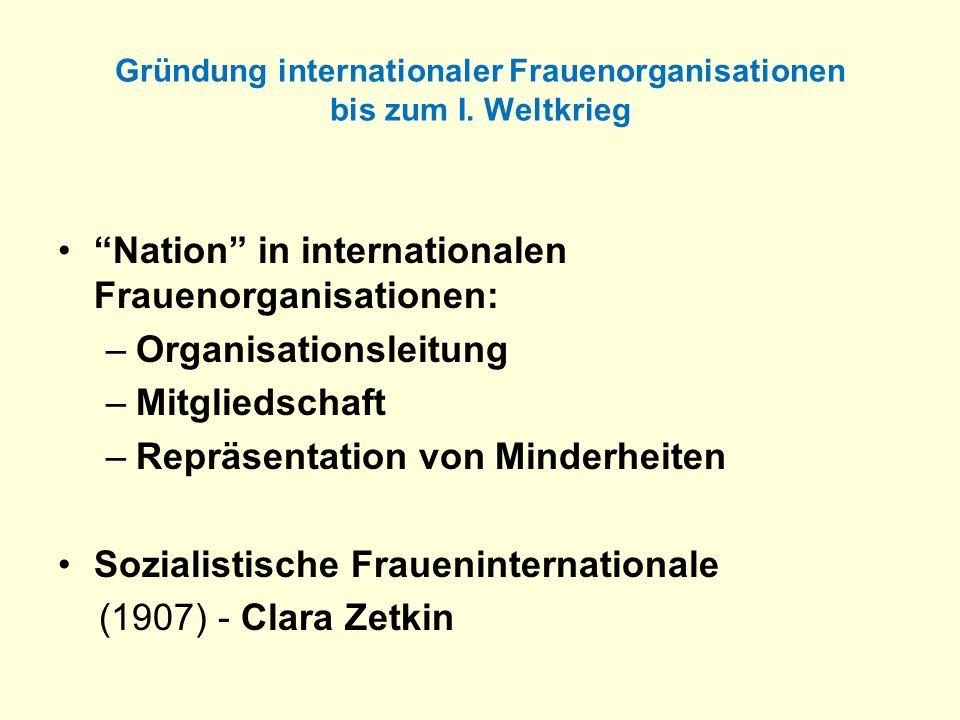 Gründung internationaler Frauenorganisationen bis zum I. Weltkrieg Nation in internationalen Frauenorganisationen: –Organisationsleitung –Mitgliedscha