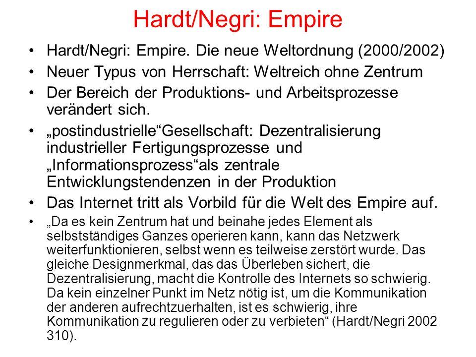 Hardt/Negri: Empire Hardt/Negri: Empire. Die neue Weltordnung (2000/2002) Neuer Typus von Herrschaft: Weltreich ohne Zentrum Der Bereich der Produktio