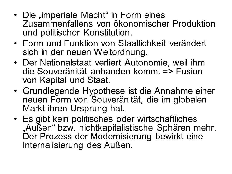 Die imperiale Macht in Form eines Zusammenfallens von ökonomischer Produktion und politischer Konstitution. Form und Funktion von Staatlichkeit veränd