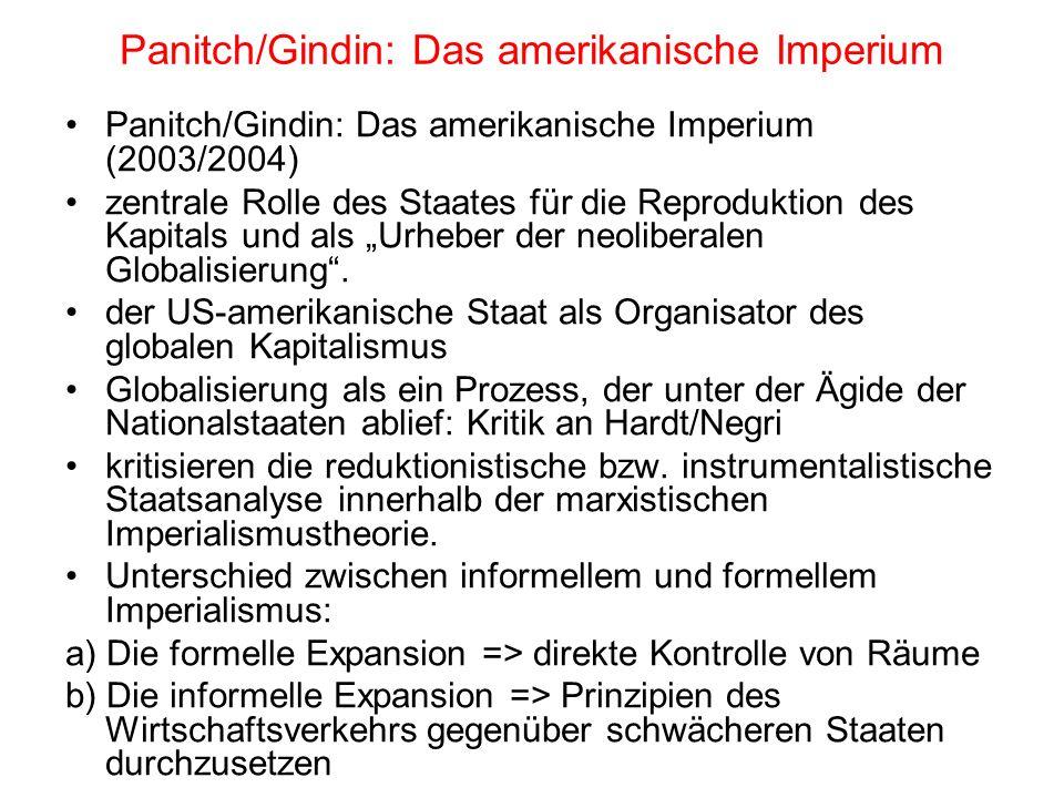 Panitch/Gindin: Das amerikanische Imperium Panitch/Gindin: Das amerikanische Imperium (2003/2004) zentrale Rolle des Staates für die Reproduktion des