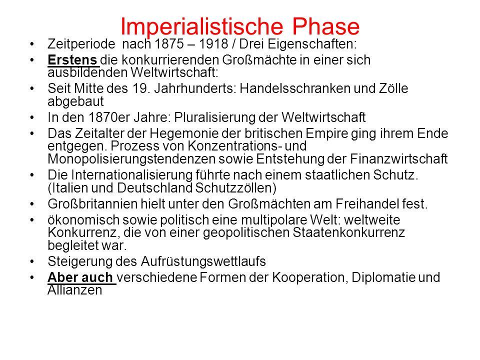 Imperialistische Phase Zweitens die Schaffung von Kolonialreichen: Zwischen 1876 und 1914 wurde ein Viertel der Landoberfläche der Erde unter einem halben Dutzend Staaten verteilt.