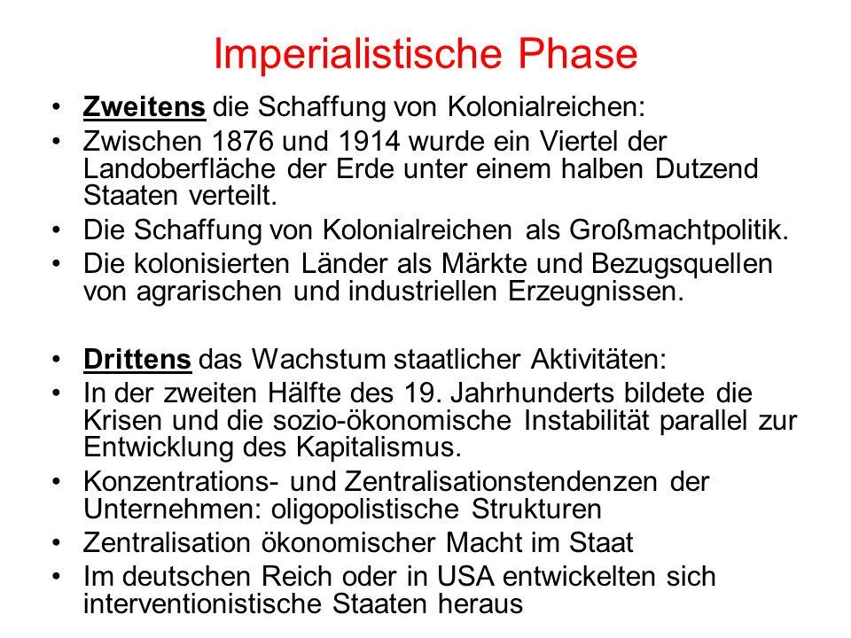 Imperialistische Phase Zweitens die Schaffung von Kolonialreichen: Zwischen 1876 und 1914 wurde ein Viertel der Landoberfläche der Erde unter einem ha