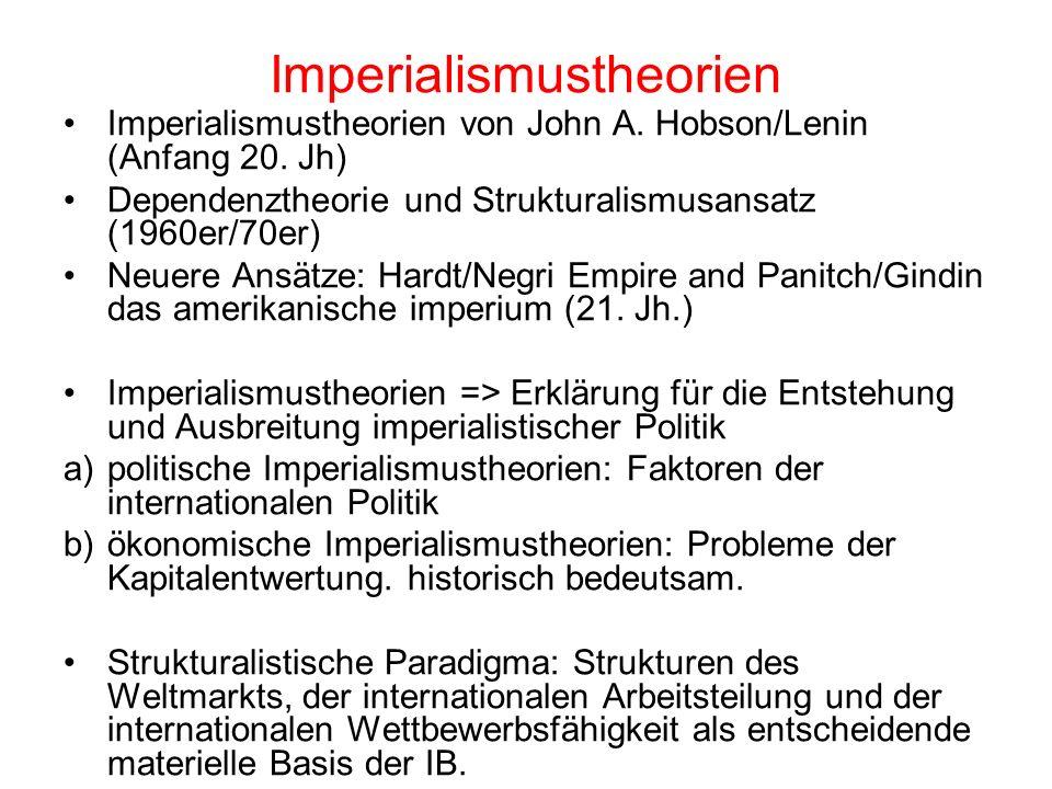 Imperialismustheorien Imperialismustheorien von John A. Hobson/Lenin (Anfang 20. Jh) Dependenztheorie und Strukturalismusansatz (1960er/70er) Neuere A