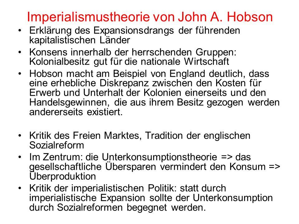 Imperialismustheorie von John A. Hobson Erklärung des Expansionsdrangs der führenden kapitalistischen Länder Konsens innerhalb der herrschenden Gruppe