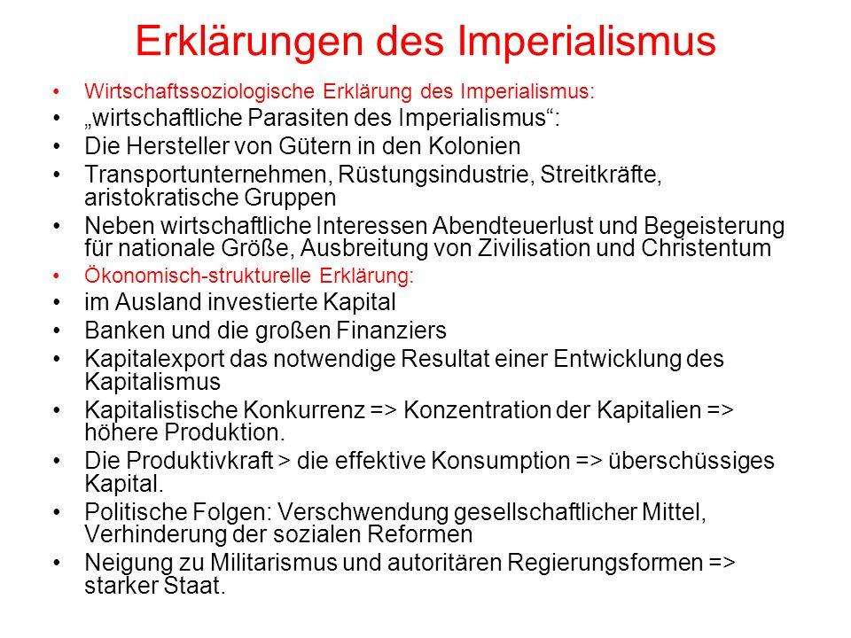 Erklärungen des Imperialismus Wirtschaftssoziologische Erklärung des Imperialismus: wirtschaftliche Parasiten des Imperialismus: Die Hersteller von Gü