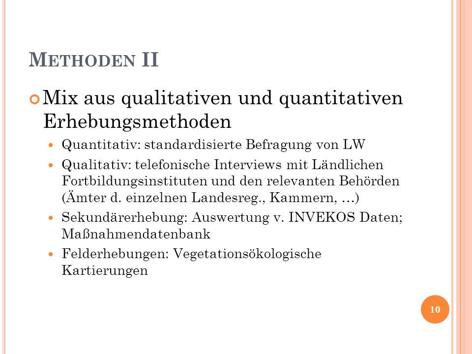 M ETHODEN II Mix aus qualitativen und quantitativen Erhebungsmethoden Quantitativ: standardisierte Befragung von LW Qualitativ: telefonische Interview