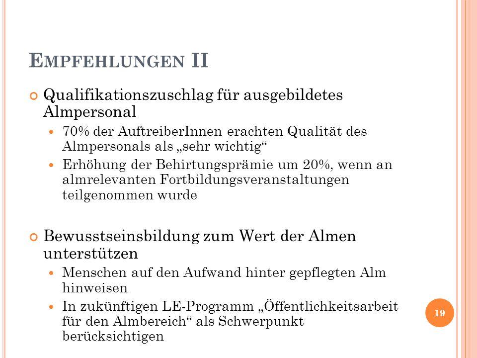 E MPFEHLUNGEN II Qualifikationszuschlag für ausgebildetes Almpersonal 70% der AuftreiberInnen erachten Qualität des Almpersonals als sehr wichtig Erhö