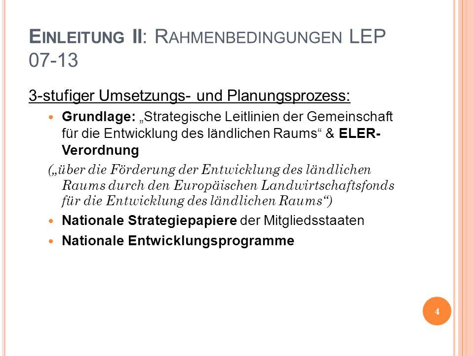 E INLEITUNG II: R AHMENBEDINGUNGEN LEP 07-13 3-stufiger Umsetzungs- und Planungsprozess: Grundlage: Strategische Leitlinien der Gemeinschaft für die E