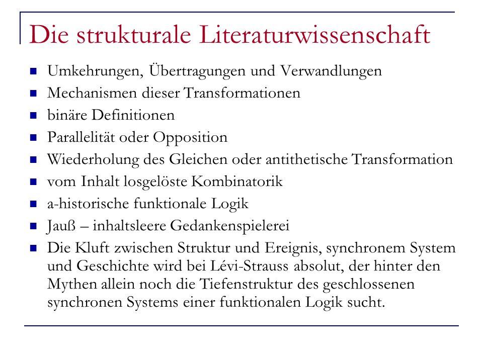 Die strukturale Literaturwissenschaft Umkehrungen, Übertragungen und Verwandlungen Mechanismen dieser Transformationen binäre Definitionen Parallelitä