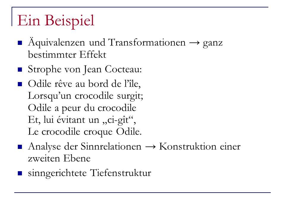 Ein Beispiel Äquivalenzen und Transformationen ganz bestimmter Effekt Strophe von Jean Cocteau: Odile rêve au bord de lîle, Lorsquun crocodile surgit;