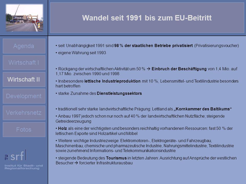 Agenda Wirtschaft I Wirtschaft II Development Verkehrsnetz Fotos Wandel seit 1991 bis zum EU-Beitritt seit Unabhängigkeit 1991 sind 98 % der staatlich