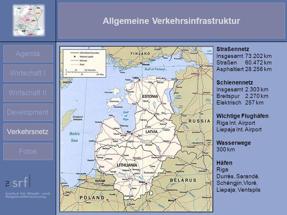 Agenda Wirtschaft I Wirtschaft II Development Verkehrsnetz Fotos Allgemeine Verkehrsinfrastruktur Straßennetz Insgesamt 73.202 km Straßen 60.472 km As