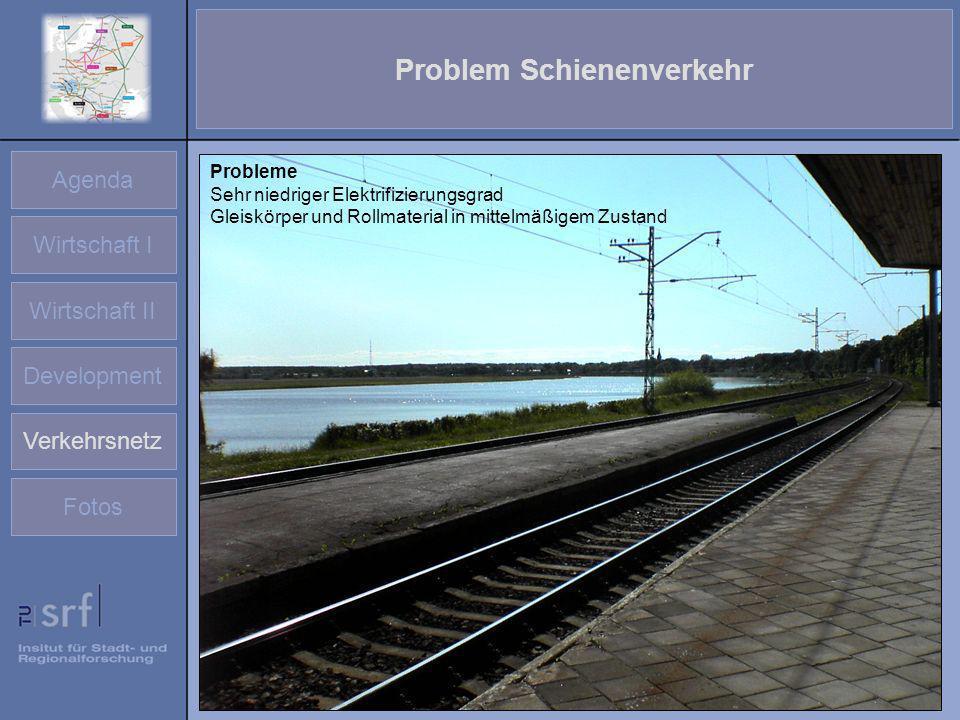 Agenda Wirtschaft I Wirtschaft II Development Verkehrsnetz Fotos Problem Schienenverkehr Probleme Sehr niedriger Elektrifizierungsgrad Gleiskörper und