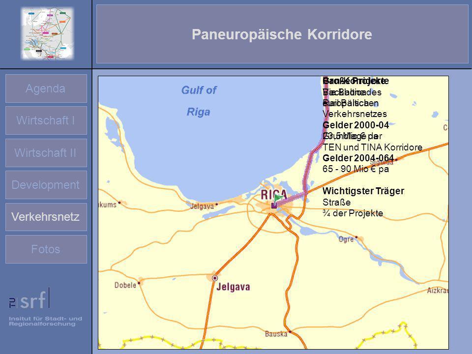Agenda Wirtschaft I Wirtschaft II Development Verkehrsnetz Fotos Paneuropäische Korridore Große Projekte Via Baltica Rail Baltica Gelder 2000-04 23,5