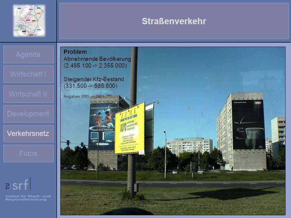 Agenda Wirtschaft I Wirtschaft II Development Verkehrsnetz Fotos Straßenverkehr Problem Abnehmende Bevölkerung (2,485.100 -> 2,355.000) Steigender Kfz