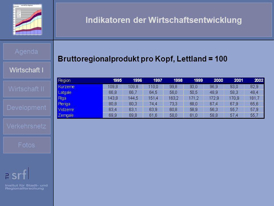 Indikatoren der Wirtschaftsentwicklung Agenda Wirtschaft I Wirtschaft II Development Verkehrsnetz Fotos Bruttoregionalprodukt pro Kopf, Lettland = 100