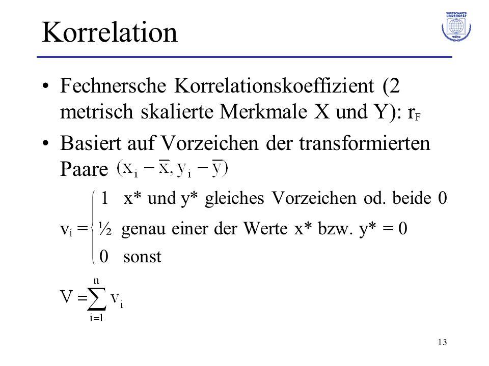 13 Korrelation Fechnersche Korrelationskoeffizient (2 metrisch skalierte Merkmale X und Y): r F Basiert auf Vorzeichen der transformierten Paare 1 x*