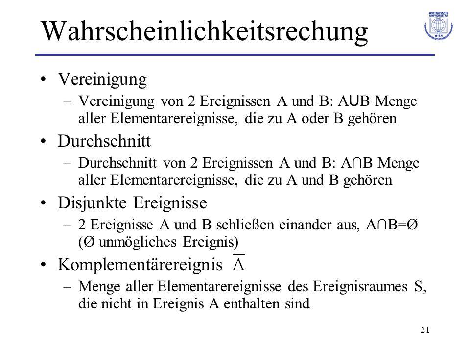 21 Wahrscheinlichkeitsrechung Vereinigung –Vereinigung von 2 Ereignissen A und B: A U B Menge aller Elementarereignisse, die zu A oder B gehören Durch