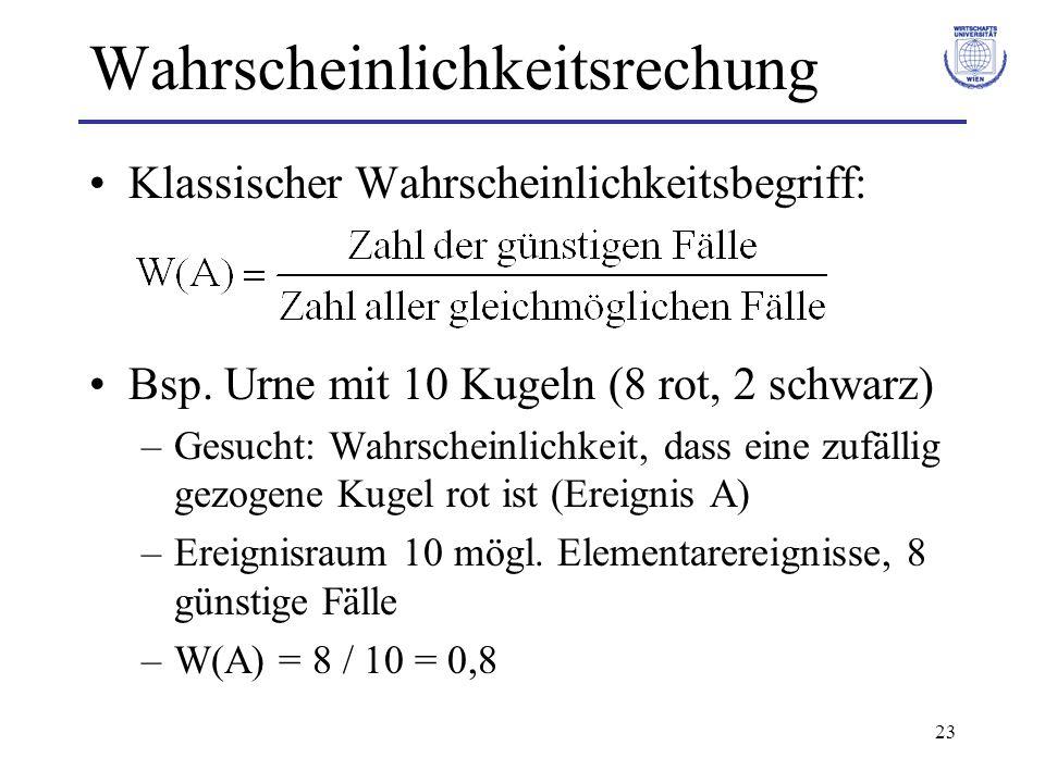 23 Wahrscheinlichkeitsrechung Klassischer Wahrscheinlichkeitsbegriff: Bsp. Urne mit 10 Kugeln (8 rot, 2 schwarz) –Gesucht: Wahrscheinlichkeit, dass ei