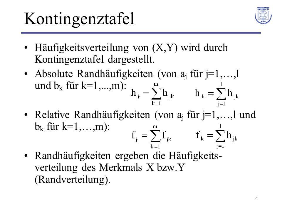 4 Kontingenztafel Häufigkeitsverteilung von (X,Y) wird durch Kontingenztafel dargestellt. Absolute Randhäufigkeiten (von a j für j=1,…,l und b k für k