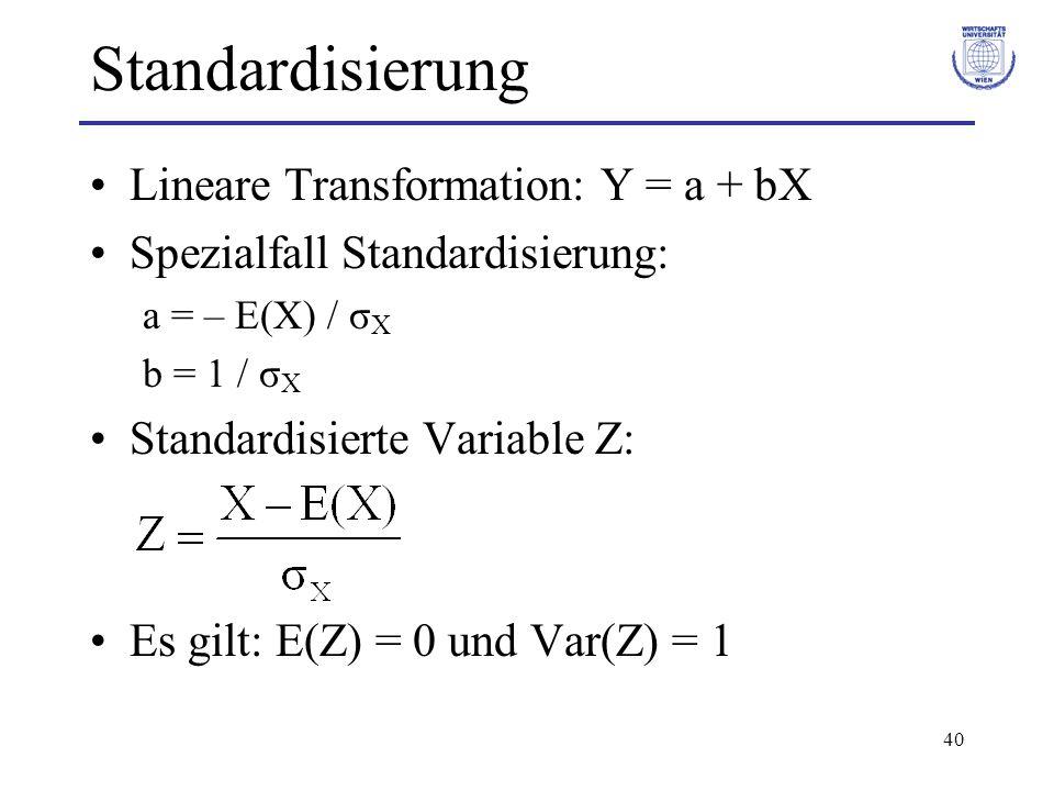 40 Standardisierung Lineare Transformation: Y = a + bX Spezialfall Standardisierung: a = – E(X) / σ X b = 1 / σ X Standardisierte Variable Z: Es gilt: