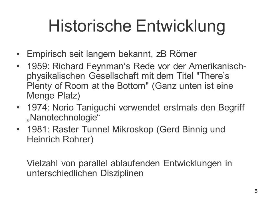 5 Historische Entwicklung Empirisch seit langem bekannt, zB Römer 1959: Richard Feynmans Rede vor der Amerikanisch- physikalischen Gesellschaft mit de