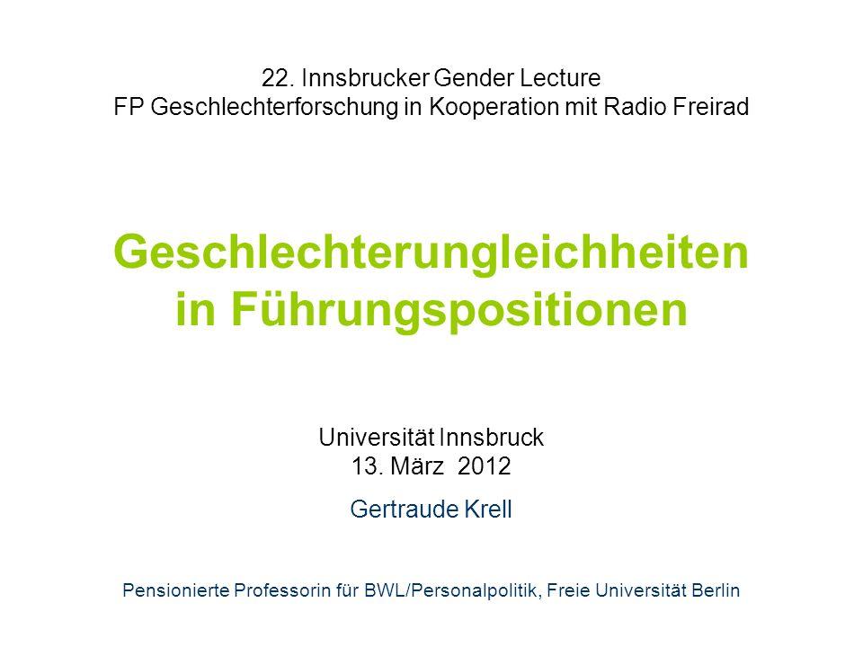 22. Innsbrucker Gender Lecture FP Geschlechterforschung in Kooperation mit Radio Freirad Geschlechterungleichheiten in Führungspositionen Universität
