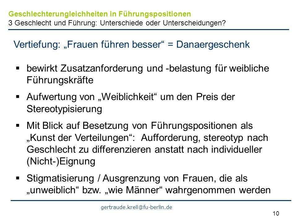 gertraude.krell@fu-berlin.de 10 Vertiefung: Frauen führen besser = Danaergeschenk bewirkt Zusatzanforderung und -belastung für weibliche Führungskräft