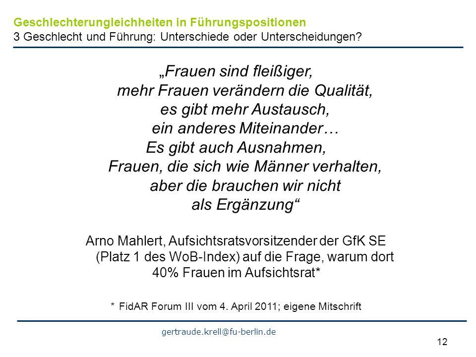 gertraude.krell@fu-berlin.de 12 Frauen sind fleißiger, mehr Frauen verändern die Qualität, es gibt mehr Austausch, ein anderes Miteinander… Es gibt au