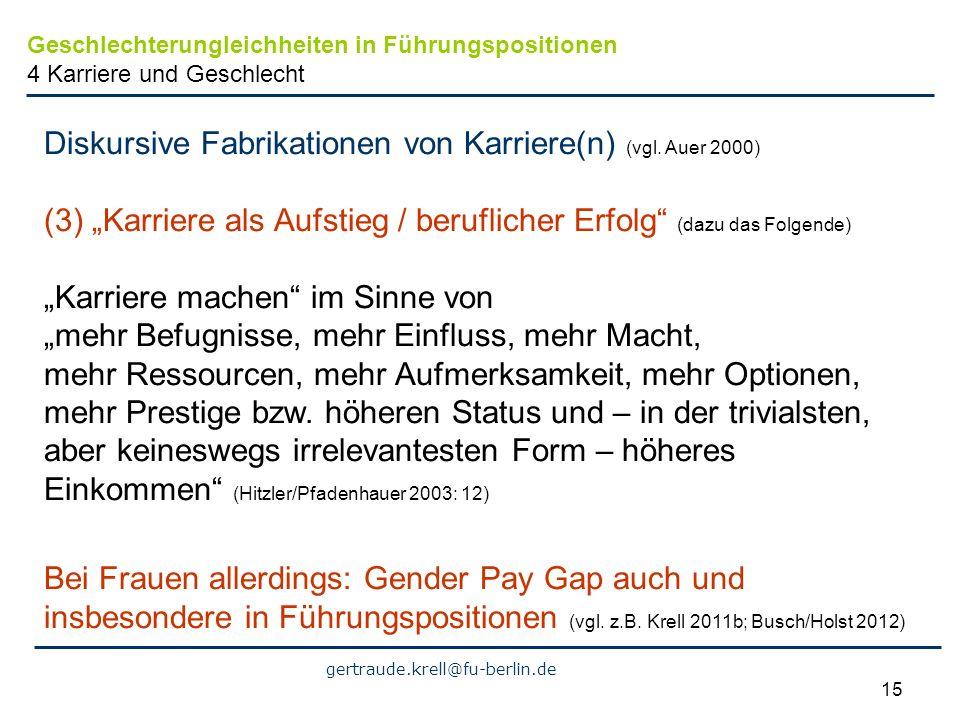 gertraude.krell@fu-berlin.de 15 Diskursive Fabrikationen von Karriere(n) (vgl. Auer 2000) (3) Karriere als Aufstieg / beruflicher Erfolg (dazu das Fol