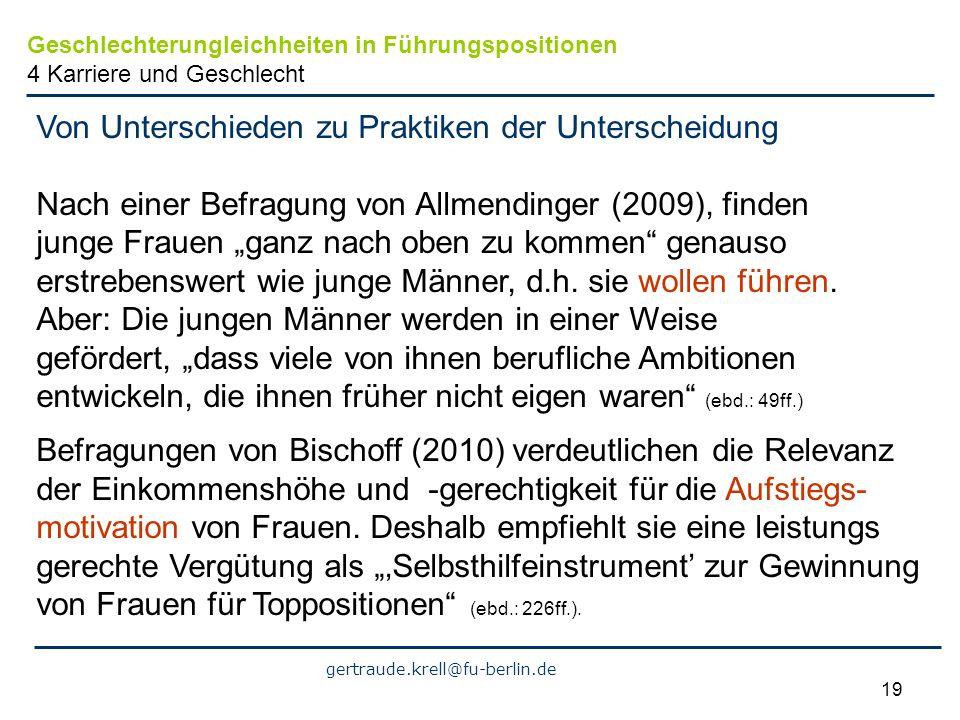 gertraude.krell@fu-berlin.de 19 Von Unterschieden zu Praktiken der Unterscheidung Nach einer Befragung von Allmendinger (2009), finden junge Frauen ga