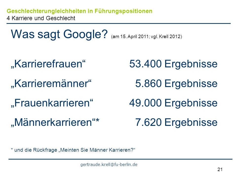 gertraude.krell@fu-berlin.de 21 Was sagt Google.(am 15.