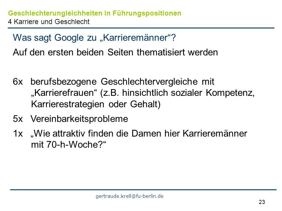 gertraude.krell@fu-berlin.de 23 Was sagt Google zu Karrieremänner? Auf den ersten beiden Seiten thematisiert werden 6x berufsbezogene Geschlechterverg