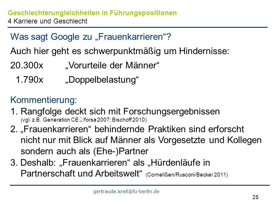 gertraude.krell@fu-berlin.de 25 Was sagt Google zu Frauenkarrieren? Auch hier geht es schwerpunktmäßig um Hindernisse: 20.300x Vorurteile der Männer 1