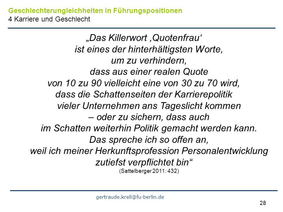gertraude.krell@fu-berlin.de 28 Das Killerwort Quotenfrau ist eines der hinterhältigsten Worte, um zu verhindern, dass aus einer realen Quote von 10 z