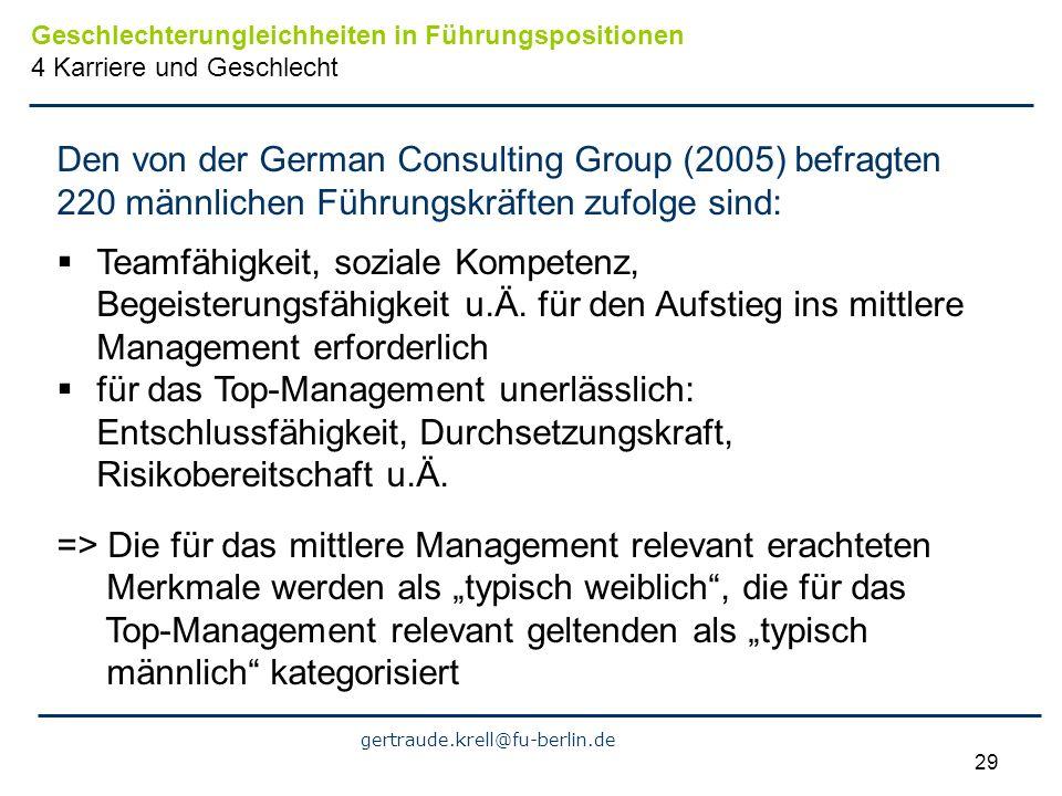 gertraude.krell@fu-berlin.de 29 Den von der German Consulting Group (2005) befragten 220 männlichen Führungskräften zufolge sind: Teamfähigkeit, sozia