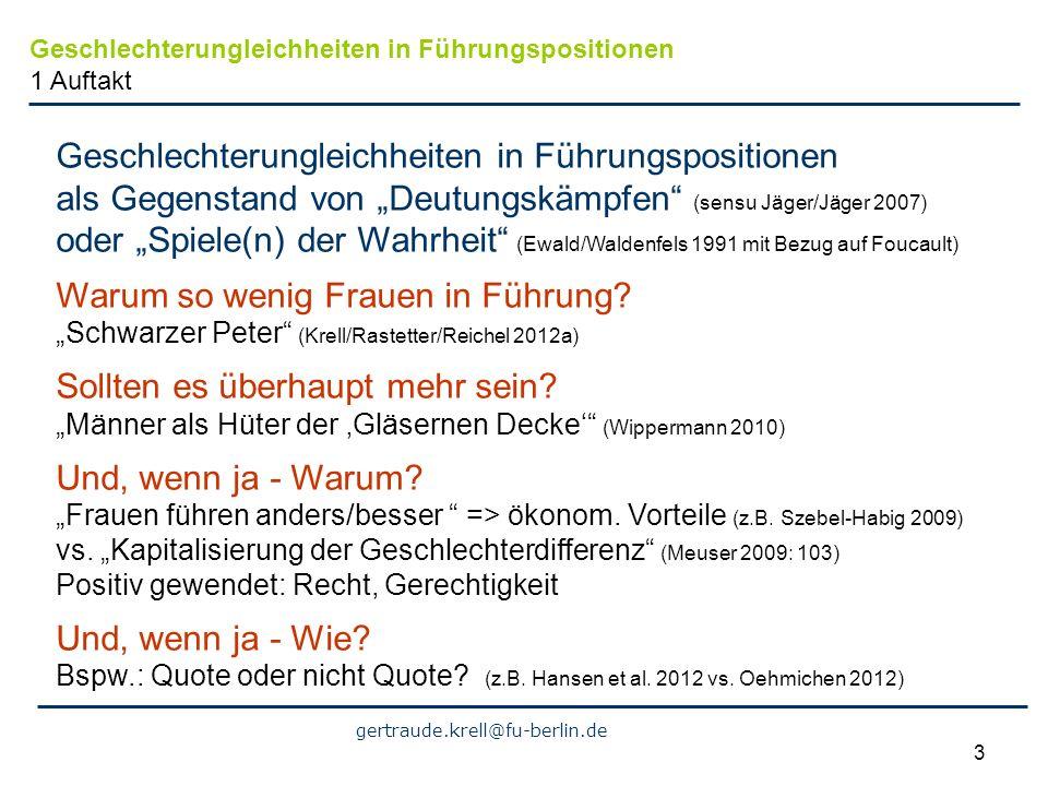 gertraude.krell@fu-berlin.de 4 Frauen wollen die Quote (SZ 18.11.2009) Von Frauenquoten hält sie nichts (SZ 3.5.2011 über Martina Koederitz als erste Chefin von IBM Deutschland) Frauenquote: Brauchen wir die wirklich.