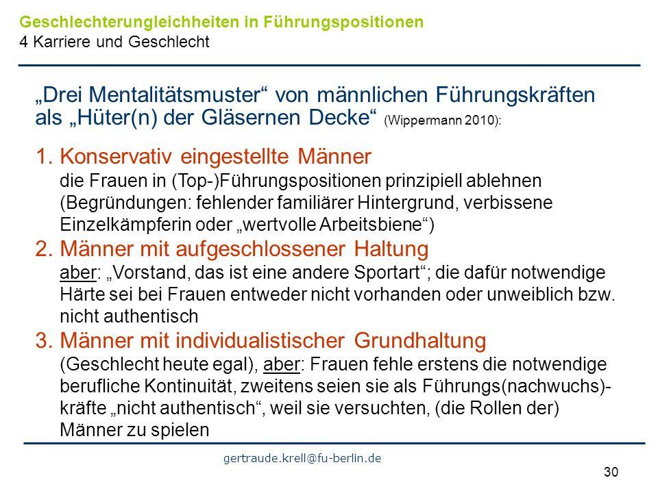 gertraude.krell@fu-berlin.de 30 Drei Mentalitätsmuster von männlichen Führungskräften als Hüter(n) der Gläsernen Decke (Wippermann 2010): 1.Konservati