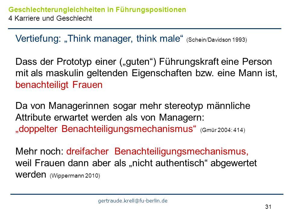 gertraude.krell@fu-berlin.de 31 Vertiefung: Think manager, think male (Schein/Davidson 1993) Dass der Prototyp einer (guten) Führungskraft eine Person