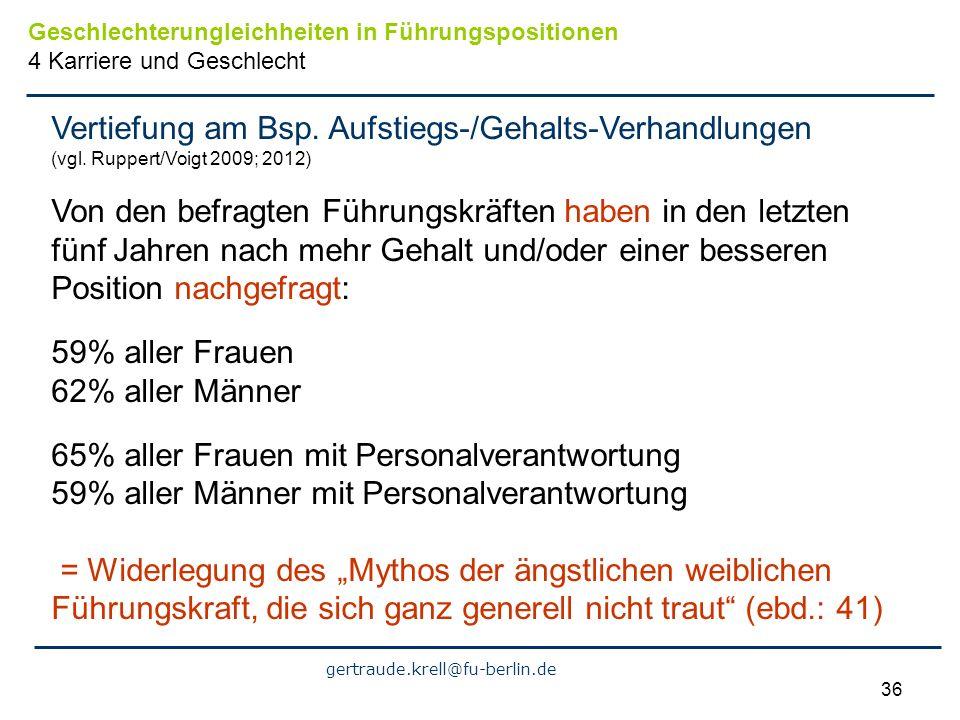 gertraude.krell@fu-berlin.de 36 Vertiefung am Bsp. Aufstiegs-/Gehalts-Verhandlungen (vgl. Ruppert/Voigt 2009; 2012) Von den befragten Führungskräften