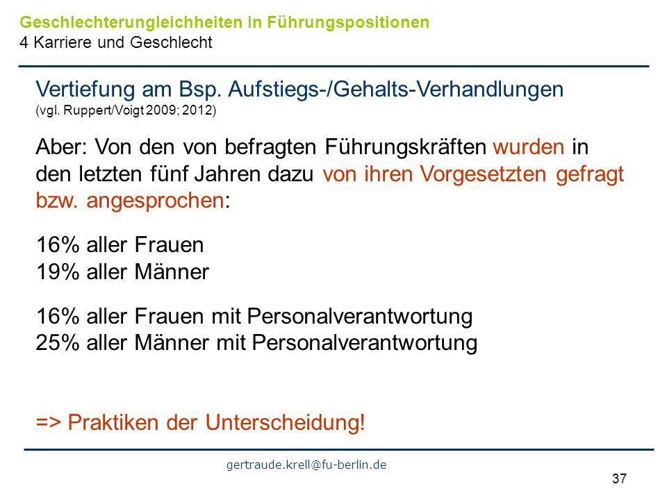 gertraude.krell@fu-berlin.de 37 Vertiefung am Bsp. Aufstiegs-/Gehalts-Verhandlungen (vgl. Ruppert/Voigt 2009; 2012) Aber: Von den von befragten Führun