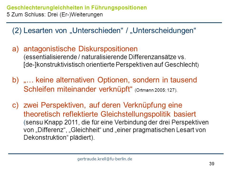 gertraude.krell@fu-berlin.de 39 (2) Lesarten von Unterschieden / Unterscheidungen a)antagonistische Diskurspositionen (essentialisierende / naturalisi