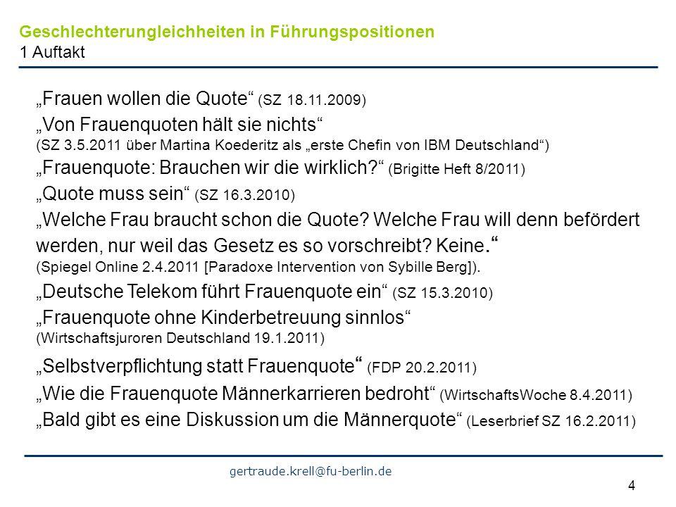 gertraude.krell@fu-berlin.de 4 Frauen wollen die Quote (SZ 18.11.2009) Von Frauenquoten hält sie nichts (SZ 3.5.2011 über Martina Koederitz als erste