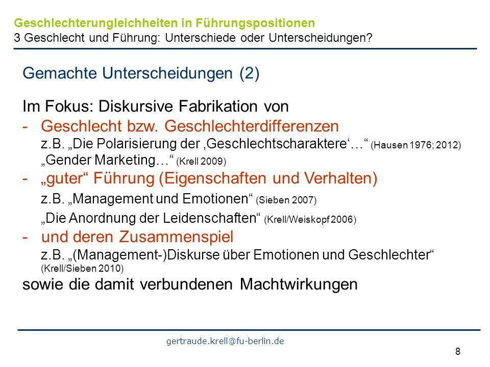 gertraude.krell@fu-berlin.de 8 Gemachte Unterscheidungen (2) Im Fokus: Diskursive Fabrikation von -Geschlecht bzw. Geschlechterdifferenzen z.B. Die Po