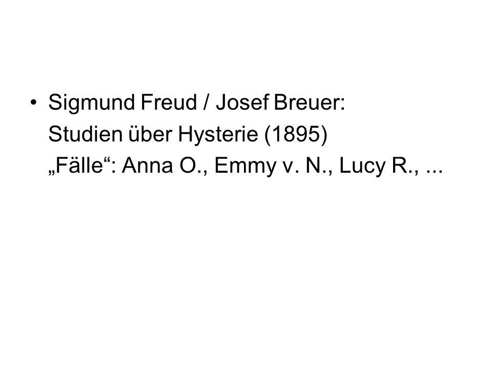 Sigmund Freud / Josef Breuer: Studien über Hysterie (1895) Fälle: Anna O., Emmy v. N., Lucy R.,...