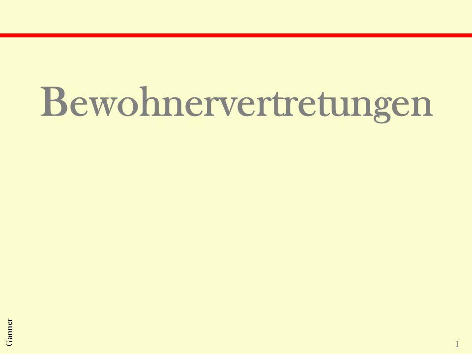 2 Ganner Bewohnervertretungen qÖsterreich l Patientenanwaltschaft nach dem KAG: Niederösterreich, Steiermark, Wien, Vorarlberg und das Burgenland l Eigen- oder Fremdvertretung auf der Basis des jeweiligen Landesheimrechts: Salzburg, Tirol, Kärnten und Oberösterreich l HeimAufG: Bewohnervertreter qDeutschland: Heimmitwirkungsverordnung 1976 qDänemark: Seniorenrat auf Gemeindeebene qSchweiz: Heimverbände und Ombudsmänner