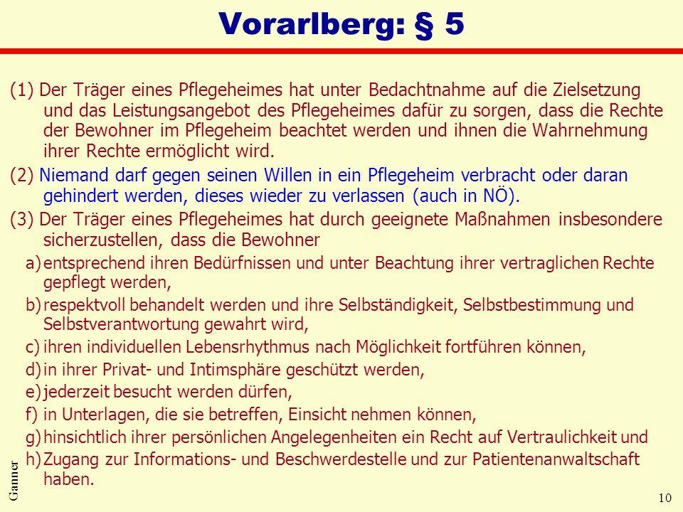 10 Ganner Vorarlberg: § 5 (1) Der Träger eines Pflegeheimes hat unter Bedachtnahme auf die Zielsetzung und das Leistungsangebot des Pflegeheimes dafür