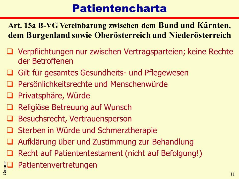 11 Ganner Patientencharta qVerpflichtungen nur zwischen Vertragsparteien; keine Rechte der Betroffenen qGilt für gesamtes Gesundheits- und Pflegewesen