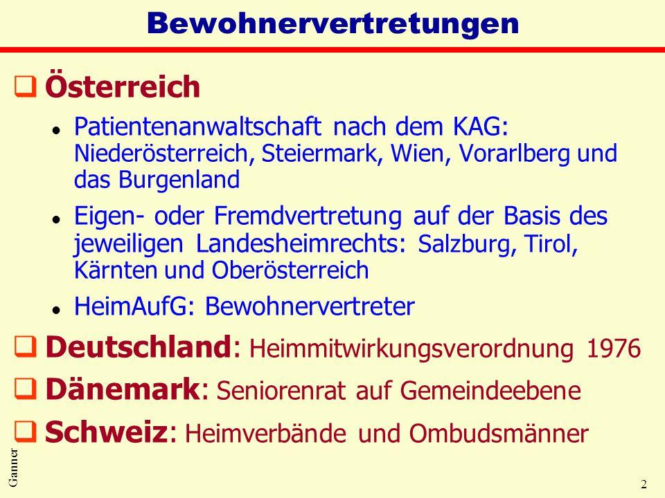 2 Ganner Bewohnervertretungen qÖsterreich l Patientenanwaltschaft nach dem KAG: Niederösterreich, Steiermark, Wien, Vorarlberg und das Burgenland l Ei