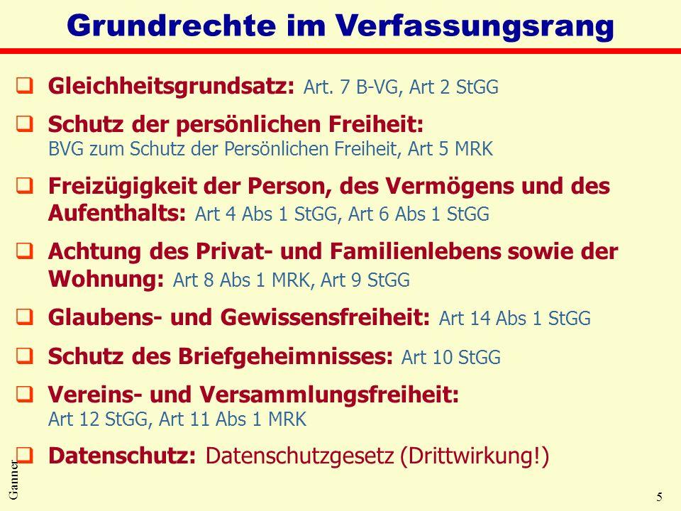 5 Ganner Grundrechte im Verfassungsrang qGleichheitsgrundsatz: Art. 7 B-VG, Art 2 StGG qSchutz der persönlichen Freiheit: BVG zum Schutz der Persönlic
